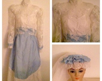 Anniversary Sale Vintage Blue Lace Wedding Gown and Veil