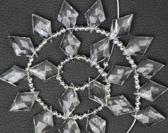 20 Piece faceted rhombus CRYSTAL Briolettes, 12 x 20 mm approx