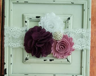 Mauve and Plum Flower Headband-Baby Headband-Newborn Headband-Lace Headband-Vintage Lace-Photo Prop-Hair Accessories-Baby Accessories
