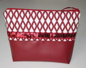 Pouch, graphic Burgundy and white with Burgundy glitter