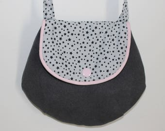 Small fancy bag for girl light pink and gray