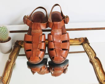 Vintage Cole Haan Tan Leather Strap Buckle Gladiator Thick Chunky Woven Flat Shoes Fisherman Sandals Size UK 4.5 EU 37.5 US 6.5