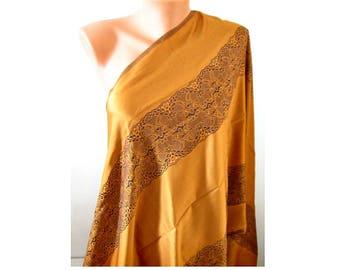 Gold brown scarf Shine scarf Women fashion scarf Satin scarf Double sided scarf Soft large shawl Laser leaf scarf Oversize Pashmina scarves