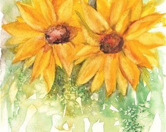 Sunflowers - Original watercolor painting