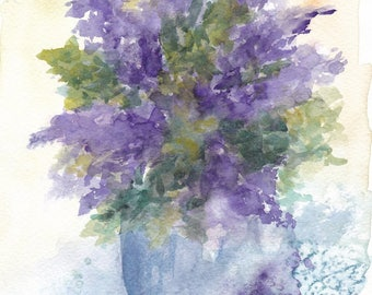 Purple bouquet - original watercolor painting