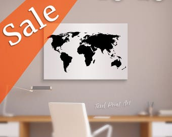 "SALE Black World Map Wall Art 1 Panel 24""x16"" 