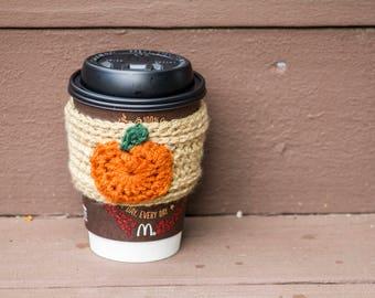 Pumpkin or Apple Crochet Coffee/Tea Mug Cozy Sleeve