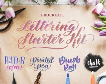 Procreate Lettering Starter Kit—Set of 4 Calligraphy Brushes