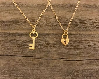 Matte gold lock and key necklace best friends necklace