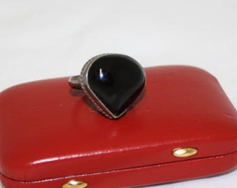 Vintage Heart Shaped Black Onyx Ring, marked 925