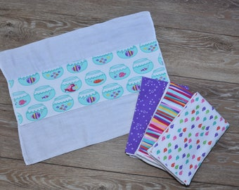 Fish (girl set of 4 burp cloths)