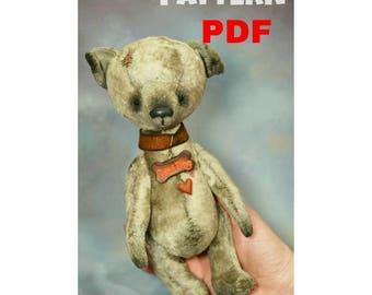 PDF Pattern, Artists Teddy Dog PDF Pattern, Artists Teddy bear pattern, teddy dog, dog pattern, 2018 dog, good dog