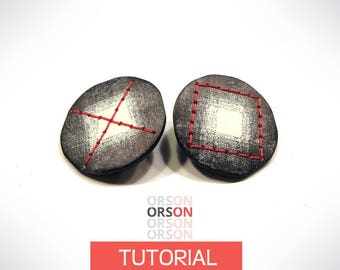 Orsons XOXO chips earrings polymer clay Original tutorial e-book