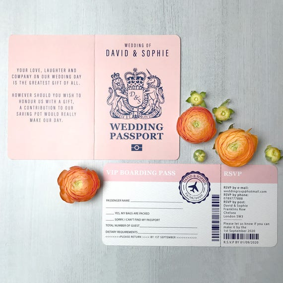 Passport wedding invitations with RSVP, Boarding pass wedding invitation, Passport wedding invites, Beach wedding invitations ideas