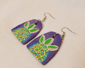 Abstracted Pineapple Earrings, Boho, Andy Warhol inspired, Wood Jewelry, Hand Painted