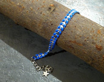 Bracelet chained silver enameled COB & star