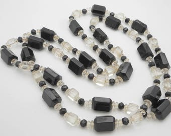 Vintage Long Three-Sided Black Glass & Crystal Bead Necklace--1920s or 1930s