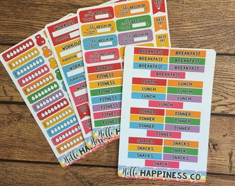 Fitness Expansion Pack Made for Sticker Albums -Sticker Album - 4 Sheets - Weight Loss Stickers - Exercise Stickers - Fitness Stickers