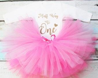 Halfway To One Half Birthday 6 Months Baby Girls Outfit Set Pink Tutu Gold Glitter Print White Vest Bodysuit Onesie