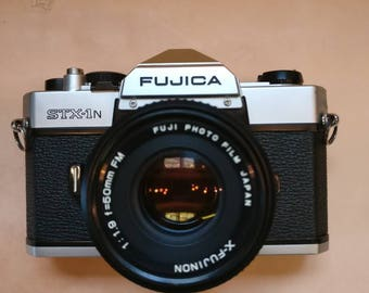 Vintage Fujica STX-1n SLR Film camera with x-fujinon 50mm lens and case