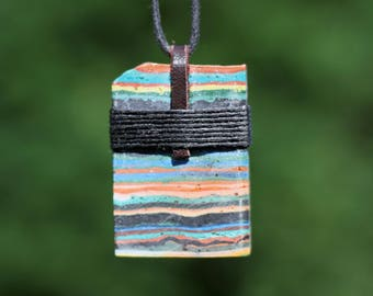 Rainbow Calsilica Pendant Necklace Raw Wrap Talisman Amulet Leather Hemp Multicolor Calcite Big Gemstone Wrap Hippie Festival Jewelry Raw