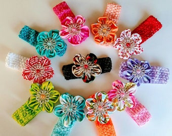 Affordable super cute Headband for Baby Girls size 3m-2T. Crochet Headband. fabric headband. buy 5 get 1 free