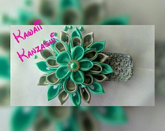 Mint and Grey Kanzashi Flower Headband or Hair clip your choice