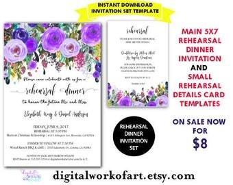 Rehearsal Dinner Invitation Template, DIY Floral Bohemian Rehearsal Dinner Printable, Rehearsal Invite,Editable PDF,instant download,boho