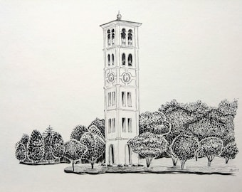 Custom ink drawing of home, monument, university, or building