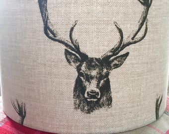 NEW Lampshade ceiling/table Charcoal Stag Head Fryetts 20cm, 30cm, 40cm handmade