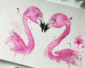 Flamingo painting, kissing flamingo art, flamingo watercolor, flamingo gift, flamingo wall art, wedding gift, flamingo decor, love is love