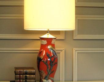 decoupage reverse-glass painted lamp