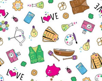 Girl Scout Fabric, Girl Scouts, White Main Fabric, Riley Blake Designs, Fabric, 100% Quilting Cotton Fabric