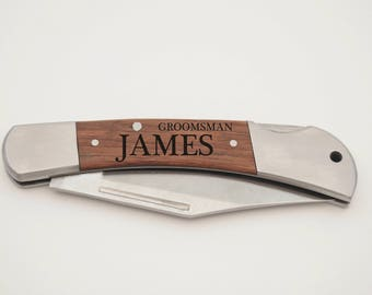 Set of 2 Custom Pocket Knives, Folding knives, Groomsman Gifts, Groomsman Knife, engraved groomsman knives, father of the bride knife gift