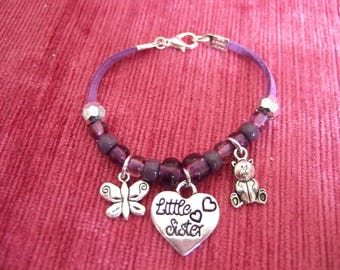 Little Sister Charm Bracelet with Purple beads on Purple Suede. to fit approx. 6.5 inches, approx 6-7 year old girls. Sister Gift.