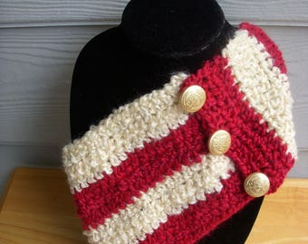 Scarf, Neck Warmer, Cowl, Cranberry and Beige with Buttons, Crocheted, Handmade