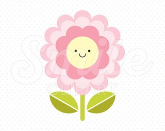 HAPPY PINK FLOWER Clipart Illustration for Commercial Use | 0033