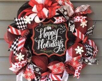Christmas Wreath Front Door, Xmas Wreath, Christmas Wreath, Mesh Christmas Wreath, Holiday Wreath, Christmas Decor, Red Black White Wreath