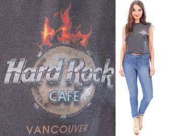 Hard Rock Cafe VANCOUVER T Shirt Vintage Tshirt Cropp Shirt Black Faded 1990s Heavy Metal Rocker Punk Sun Faded Cut Off Low Armholes . Small