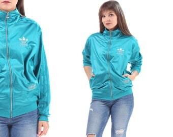 ADIDAS Bomber Track Jacket 90s Azure Blue Vintage Zip Up Turtleneck TREFOIL SILVER Logo Embroidery 3 Stripe Hip Hop Sport Hipster Medium