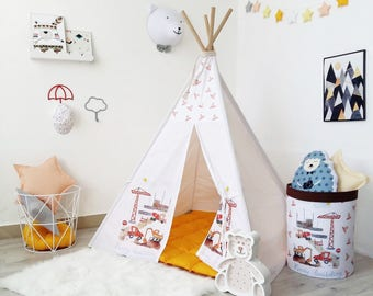 Kids Teepee with Construction Machinery, Kids tipi with poles, TepeeBoys tepee with Cars, outdoor play tent, Children's wigwam, Teepee