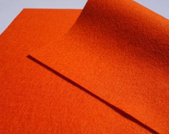 "100% Wool Felt Sheet in Color ORANGE - 18"" X 18"" Wool Felt Sheet - Merino Wool Felt - European Wool Felt"
