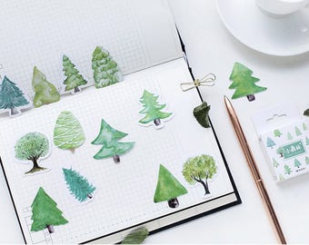 45 Pieces Little Trees Stickers - Planner, Journal, Craft, Scrapbooking, Decoration