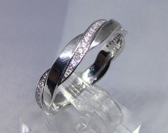 Ring wedding ring Silver 925 CZ size 54