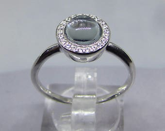 Ring Feminine Opalescent Blue Topaz on silver size 54