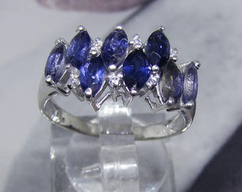 Ring adorned with silver size 52 of ultramarine blue Iolite