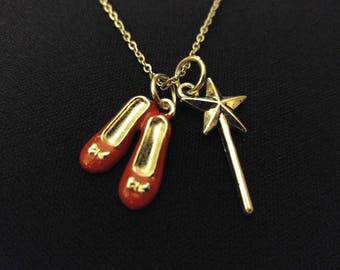 """DOROTHY Wizard Of OZ Red Shoes Magic Wand High Quality 316 Stainless Steel 20"""" Necklace"""