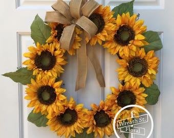 Fall Wreath, Autumn Wreath, Sunflower Wreath, Front Door Wreath, Wreath Street Floral, Grapevine Wreath, Door Wreath, Yellow Wreath