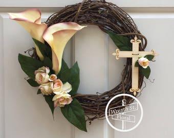 Memorial Wreath, Sympathy Wreath, Cemetery Wreath, Cross Wreath, Easter Wreath, Remembrance Wreath, Wreath Street Floral