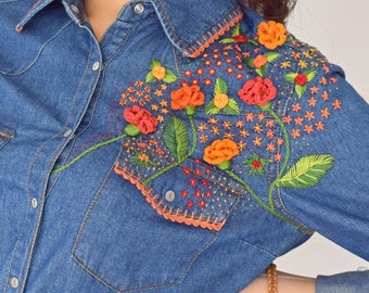 Hand embroidered denim shirt.